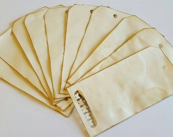 SALE 10 Tea Dyed Tags, Tea Dyed Hang Tags, Gift Tags, Wedding Favors, Gift Packaging
