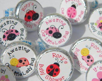Baby Shower Favors - Birthday Favors - Personalized Baby Shower Hershey Kisses - Ladybug Hershey Kiss Stickers - Ladybug Baby Shower Favors