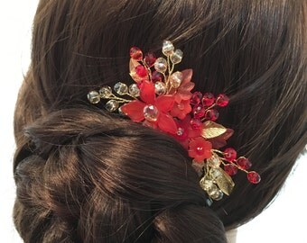 Crystal Hair Comb, bridesmaid hair comb red, bridesmaid hair accessories, flower hair combs, hair combs for wedding, bridesmaid hair piece