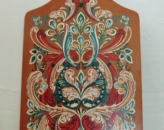 Vintage Danish Painted Wood Bread Board The Lord's Prayer