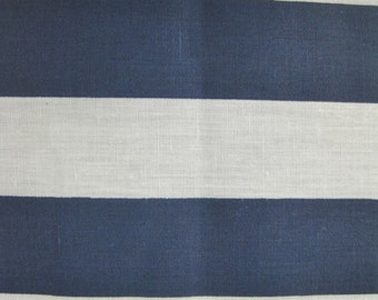 "Poly Cotton 1"" Stripe Fabric - Navy/White - Sold By The Yard"