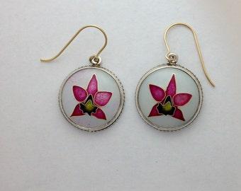 Orchid flower earrings in silver