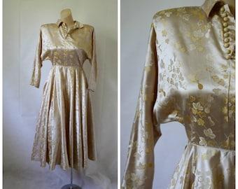Vintage Dress / Champagne Dress / 1940's Dress / 1940's Satin Dress / Gold Leaf Dress XS/S