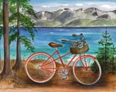 Bike Ride at Lake Tahoe set of 4 notecards watercolor item-(LS32)
