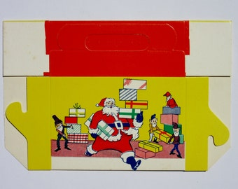 Vintage Christmas Candy Box with Santa Claus and Elves Merry Christmas Greetings Holiday Season Home Decor Repurpose as Present or Gift Box