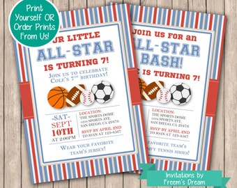 All-Star Sports Birthday Party Invitation - Printable Sports Invite - All Star Bash Invitation - Sports Themed Birthday Party Package - BP12
