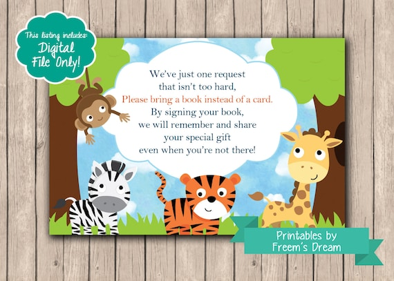 book request card zoo animal baby shower safari themed baby shower