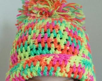 Neon pom pom hat