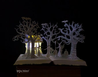 ON SALE!! Three Witches - Halloween - Book Sculpture - Altered Book - Book Art