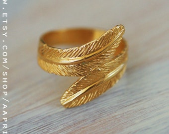Feather ring, gold ring, feather gold ring, unique ring, wide ring, gold engagement ring size 6 size 7