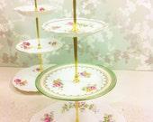 Vintage Floral Bouquet 3 Tier Cake Stand