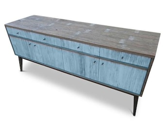 Modern Mid Century Retro Scandinavian Baby Powder Blue Sideboard / Buffet / Entertainment Unit - Solid Timber, Recycled Wood