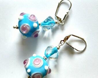Blue Earrings, Lampwork Bead Earrings, Powder Blue Earrings, Glass Earrings, Summer Earrings, Happy Earrings