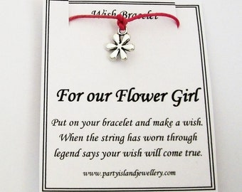 FLOWER GIRL Flower Charm Friendship Bracelet with Wish Message Card - 12 Colours - Wedding Party