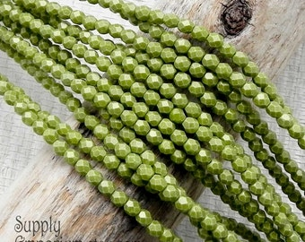 4mm Sueded Gold Olive Firepoished, Faceted Round Beads - Sueded Gold Olive Green 4mm Beads - 2293 - 50 Beads