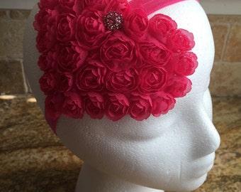 Hot Pink Heart Shape Valentines Day Flower Headband, Girl Headband, Baby Girl Headband, Infant Girl Headband, Newborn Girl Headband