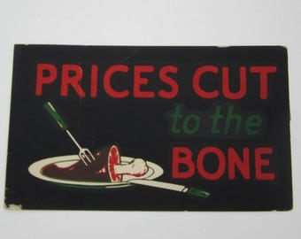 Vintage sign paper with hambone butcher red black  graphics
