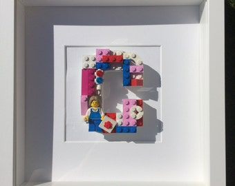 Lego Initial Artist, Art Letters, Mothers Day, Mum Pink Purple Baby Girl Birthday, Customised, Picture, Nursery, Children's, Bedroom Frame