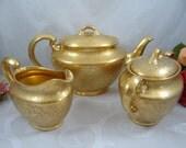 1930s Ovington's 5th Ave New York Gold Encrusted Large Tea Pot Set Teapot Creamer and Sugar - Delightful
