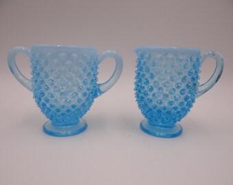 Vintage Fenton Blue Hobnail Creamer and Sugar - Pretty Blue Hobnail Serving Piece - Pretty Blue Glass Creamer and Sugar