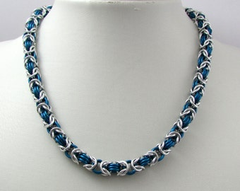 Mid Blue and Silver Necklace – Byzantine Weave Chainmaille Necklace – Handmade Chainmail for Men and Women