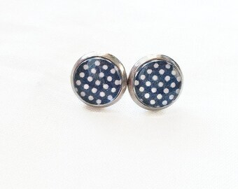 Stainless steel, earrings, cabochon, studs, ear studs, white polka dots on bottom marine, 10 mm, made in Quebec, retro vintage
