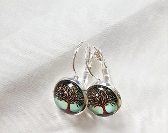 Tree of life, green and Brown, ground nature, sleepers, made in Québec, 12 mm, gifts for her, cabochon earrings jewelry for woman