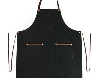 Industry Full Apron- Waxed Canvas - Black
