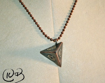 Solid copper and silver pandorica necklace.