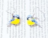 Hand drawn Bluetit dangle Earrings. Bird Earrings
