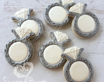 Anniversary Engagement Wedding Ring Cookies - 1 Dozen