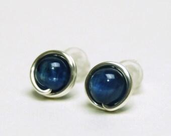 Shimmery Blue Kyanite Stud Earrings - Handmade Wire Wrapped, Fine (99%) Silver, Dark Blue Gemstone Studs