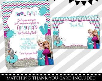 Frozen POOL PARTY invitations - FREE Thank You Card