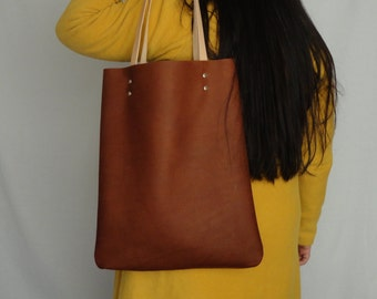 free shipping. DARK BROWN  leather bag with leather handles