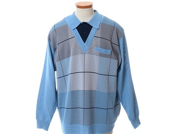 Vintage 70s Da Vinci California Retro Knit Shirt 1970s Atomic Rockabilly Rat Pack Mod Club Panel Shirt / Mens size 1X