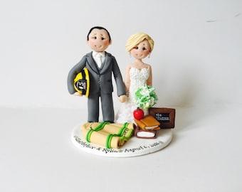Personalised Fireman groom and Teacher Bride wedding cake topper - Custom made wedding cake topper keepsake gift