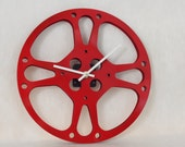 Wall Clock made from 8mm Home Movie Reel // Red // Geekery // Clocks by DanO