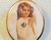SALE 30 Christmas Angel Porcelain Cameo Brooch Gold Trimmed