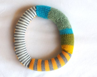 Knitted letter O, alphabet, sock letter O, initial letter, nursery art, alphabet sock toy