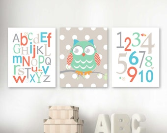 Baby Girl Alphabet Number Owl, Nursery Bedroom Wall Art Print Set, Coral, Mint, Sky Blue, Beige, Gray Set of (3) -5x7, 8x10, 11x14 Unframed