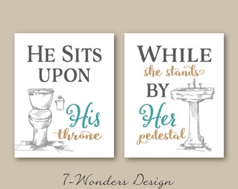 His Her Bathroom Wall Art Prints Set of (3) 5x7 Or 8x10  Sizes, Teal Beige Grey, Modern Home Apartment Bathroom Decor - Unframed
