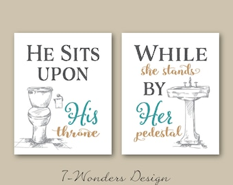 His Her Bathroom Wall Art Prints Set Of 3 5x7 Or 8x10 Sizes