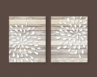 Hand Drawn Flower Bursts on Faux Wood with Art Print Set of 2 - Unframed, 5x7, 8x10 or 11x14 Sizes // Nuetral Flower Art, Modern Home Decor