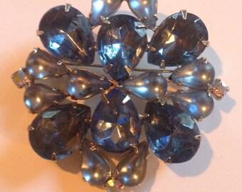 Vtg 60s Blue Cluster Brooch Rhinestone Cabochon AB Crystal