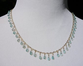 Blue Zircon Briolette Necklace,  Delicate Necklace, Briolette Beads, Blue Zircon Jewelry, Zircon Beads, Blue Gems