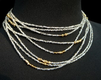 Multi Wrap Bead, Long Beaded Wrap Necklace, Silver and Gold, Gold Jewelry, Sterling Silver, Silver Jewelry, Silver Gold Jewelry, Handmade