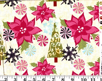 1 Yard, Mauve Poinsettia, Christmas Trees and Peppermint Candies