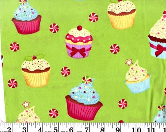 1 Yard, Brother Sister B42-IBHFC-P3 Cupcakes on Green with Glitter