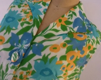60's Dress Mod Floral Shift Dead Stock Poly Crepe Fabric Made for Sears & Roebuck Size M