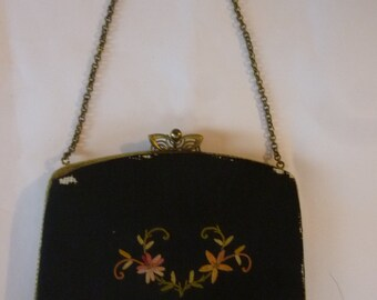 Art Nouveau Handbag 20's Embroidered Black Silk Evening Purse Metal Frame Metal Chain Strap Mirror Coin Purse Made in France Upcycle